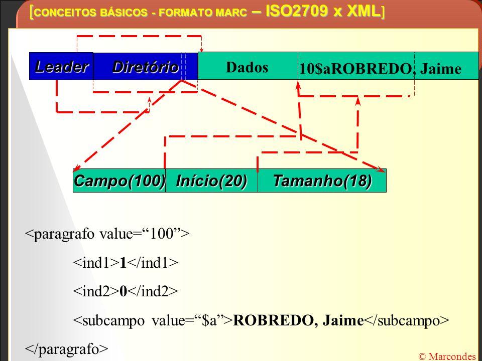 [CONCEITOS BÁSICOS - FORMATO MARC – ISO2709 x XML]
